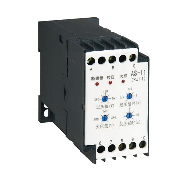 AS-11(XJ11)电动机保护器(以下简称保护器)适用于在交流50Hz的三相供电电路中与交流接触器等开关电器组成控制电路,对三相交流电动机、不可逆转的传动设备(如水泵、风机、空压机、电梯电机或馈电线路等)及在其他的保护电路可进行过压保护、欠压保护、断相保护和相序保护。面板上设有错断相、过压、欠压故障指示灯和过压值、欠压值、过压延时值、欠压延时值的设定旋钮,保护器的主要元件采用采用集成电路,具有精度高、性能可靠、适用范围广、使用方便等优点。 三相不可逆转的设备或馈电线路在认定相序后,因维修或更改供电线路与